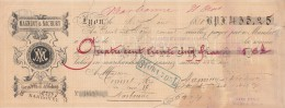 Lettre Change 6/8/1880 MAGNINY NACHURY Mercerie  LYON Rhône Pour Narbonne Aude - Voir Scan - Lettres De Change