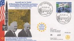 295 METING SCHULTZ - CHEVARDNADZE  24 NOVEMBER 1987 IN SWITZERLAND - Enveloppes évenementielles