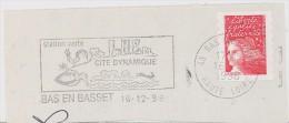 FRANCE. FRAGMENT POSTMARK BAS EN BASSET. FLAMME - Marcofilia (sobres)