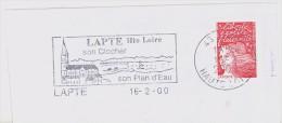 FRANCE. FRAGMENT POSTMARK. LAPTE. CHURCH. 2000. FLAMME - Marcofilia (sobres)