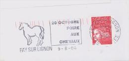 FRANCE. FRAGMENT POSTMARK. FAY SU LIGNON. HORSE FAIR. 2004. FLAMME - Marcofilia (sobres)