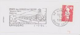 FRANCE. FRAGMENT POSTMARK LANGEAC. 1994. FLAMME - Marcofilia (sobres)