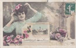 PARIS XII° Belle CPA Fantaisie Souvenirs Jolie FEMME Fleurs PLACE De La NATION Timbré 1909 - District 12