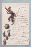 CPA  - Booling - Soldat Lançant Une Mine Vers Des Obus  // BOULES - Bowling