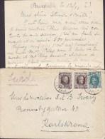 Belgium IXELLES ELSENE 1924? Cover Lettre KARLSKRONA Sweden (2 Scans) - Belgien