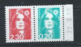 France  Paire Neuve Issue De Carnet N° P2614 - Unused Stamps