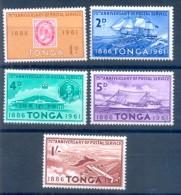 Tonga 1961 75th Anniversary Of Postal Service, 5 Stamps MNH - Filatelia & Monedas
