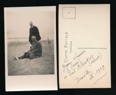 Photographie Carte Photo  Homme Politique Et Historien Russe Paul ( Pavel ) Milioukov Et Gregoire Lessine Deauville 1919 - Famous People