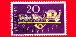 SVIZZERA - Usato - 1949 - 100 Anni Della Posta Federale In Svizzera - Diligenza A Cavalli - 20 - Usados