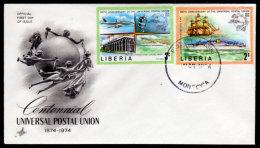 Liberia 1974, Scott 667-668, Universal Postal Union, First Day Cover - Liberia