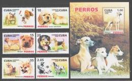Cuba 2006 Kuba Mi 4828-4834 + Block 214(4835) Dogs / Hunde **/MNH - Chiens