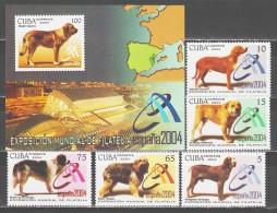 Cuba 2004 Kuba Mi 4603-4607 + Block 189(4608) Dogs / Hunde **/MNH - Chiens