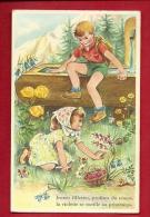 HAS-07 Couple D'enfants. Jeunes Fillettes, Profitez Du Temps, La Violette Se Cueille Au Printemps. Bassin, Fontaine Bois - Scènes & Paysages
