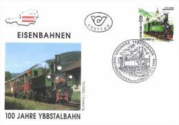 Austria 1998 FDC, Train, 100 Year Ybbstalbahn, Steam Train - Trains