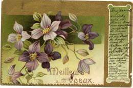 Bonne Année Avec Des Fleurs Sur Fond Doré - Nouvel An