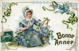 Bonne Année - Fillette Avec Fleurs De Myosotis - Nouvel An