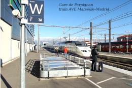 Gare De Perpignan , Pyrénées-Orientales , Train AVE Marseille-Madrid - Une Photo Reproduit Carte Postale  10x15 Cm. - Stations - Met Treinen