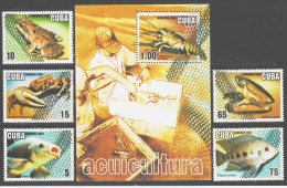 Cuba 2001 Kuba Mi 4366-4370 + Block 167(4371) Marine Life: Fishes, Frog / Meeresfauna **/MNH - Vie Marine