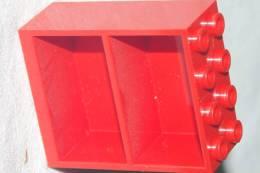 LEGO Ancien BLOC 2 ETAGERES BIBLIOTHEQUE  2 X 4 X 5   Fond ROUGE /  APPARTEMENT De POUPEE - Lego System