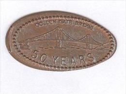 Jeton US -One Cent Allongé / Elongated - Golden Gate Bridge - 50ème Anniversaire / 50 Years - Elongated Coins
