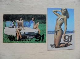 2 Small Calendar From Latvia Riga 1991 Woman Car Auto - Kalender