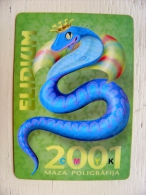 Calendar From Latvia Animal Snake - Kleinformat : 2001-...