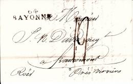 MARQUE POSTALE LAC  DE BAYONNE A FRANCOMONT  22 AOUT 1811 - Marcophilie (Lettres)