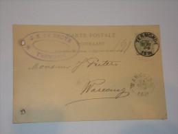 Entier Publicité J.E.De Bruyn Termonde Vers Warcoing En 1894. - Entiers Postaux