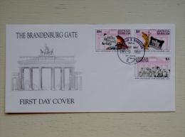 Cover From Antigua And Barbuda 1991 FDC Cover Brandenburg Gate Germany Flag - Antigua Und Barbuda (1981-...)