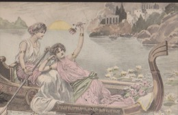 CPA:Femmes Sur Gondole Antique:Signature - Autres