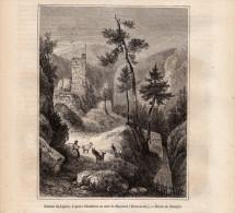 1854 - Gravure Sur Bois - Monistrol-sur-Loire (Haute-Loire) - Les Ruines Du Châtreau Du Lignon - FRANCO DE PORT - Prints & Engravings