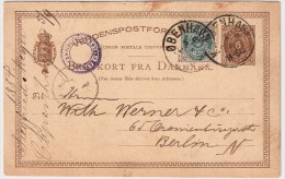 Dänemark, 1884, Ausland GA Mit Zusatzfrankatur , #4139 - Lettere