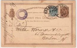 Dänemark, 1884, Ausland GA Mit Zusatzfrankatur , #4139 - 1864-04 (Christian IX)
