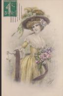 CPA : C. De Antonio : Femme Au Bouquet - Illustrateurs & Photographes
