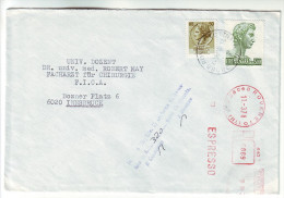 138 Italy 1978 Rovereto Red Meter Espresso Registered Letter To Austria - 1971-80: Marcophilie