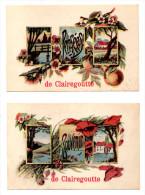 Clairegoutte Lot De 2 Cartes Souvenir Pensées Haute Saône 70 Canton De Lure RARES !!! - France