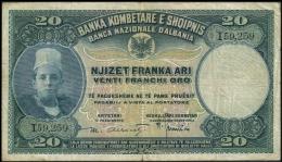 Albania 20 Franka Ari Serie I ND 1926 P 3 F+ - Albanie