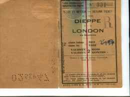 TICKET ALLER RETOUR DIEPPE LONDON TRAFIC FRANCO ANGLAIS 3 EME CLASSE BATEAU - Europa