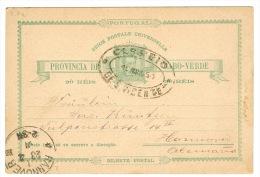RB 1064 -  1891 Postal Stationery Card - Oval Postmark Cabo Verde Cape Verde Ex Portugal To Hannover Germany - Cape Verde