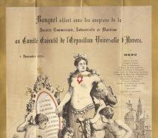 Rare Grand Menu De Société Commerciale Industrielle Maritime Pour Exposition Universelle Anvers 1885 - Menus