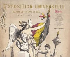 Rare Grand Menu Pour L'ouverture De Exposition Universelle Anvers 1885 - Menus