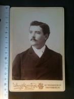 Photo De Cabinet Cdv - Buste D'Homme, Lothrop & Cunningham Providence Rhodes Island U.S.A. - Ancianas (antes De 1900)