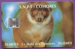 Télécarte Comores °° 25 Unités .7. - Maki Des Comores Espèce Menacée :: Sans Numéro Rouge Verso. * T B E - Comoros