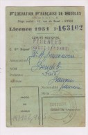 CARTE FEDERATION FRANCAISE DE BOULES, LICENCE 1951 EN HAUTE GARONNE - Pétanque