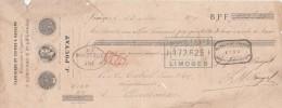 Lettre Change 13/5/1879 POUYAT Carrières Kaolin Porcelaine LIMOGES Haute Vienne Pour Bordeaux - Voir Scan Fente Manque - Lettres De Change
