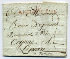 LETTRE AVEC CACHET  ROUGE, LINEAIRE, LONG: 15 - ANGOULÊME . ( à JARNAC ). 29 DECEMBRE 1803. - Poststempel (Briefe)