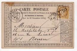 !!! CARTE PRECURSEUR CERES CACHET DE PARTHENAY (DEUX SEVRES) 1873 - Entiers Postaux