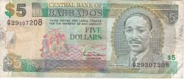 BILLETE DE BARBADOS DE 5 DOLLARS DEL AÑO 2000  (BANKNOTE) - Barbados