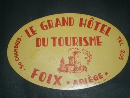 1 ETIQUETTE COLLANTE POUR VALISES- GRAN HOTEL DU TOURISME - FOIX - ARIEGE - Publicités