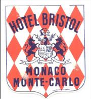 MONACO -==- MONTE CARLO -==- LABEL LUGGAGE ETIQUETTE De BAGAGES -- HOTEL BRISTOL - Hotel Labels